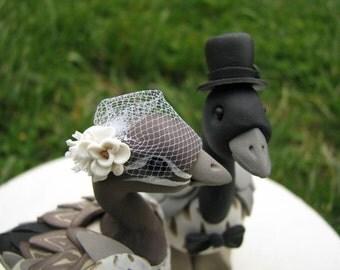 Australian wood ducks custom wedding cake topper