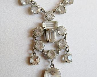 Vintage 30s Art Deco Czech Open Back Cut Crystal Dangle Drop Festoon Necklace