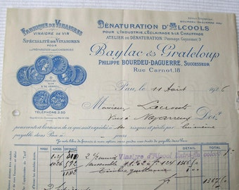 Vintage French Invoice / Facture of 1926 - Baylac & Grateloup, Pau (Vinegar Products)