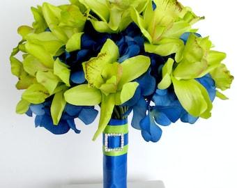 Brides bouquet, Lime green orchid Wedding bouquet, Royal blue lime green Silk wedding flowers