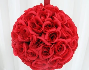 Red rose Wedding pomander, Kissing ball Bridesmaid bouquet, Wedding decoration Pew marker