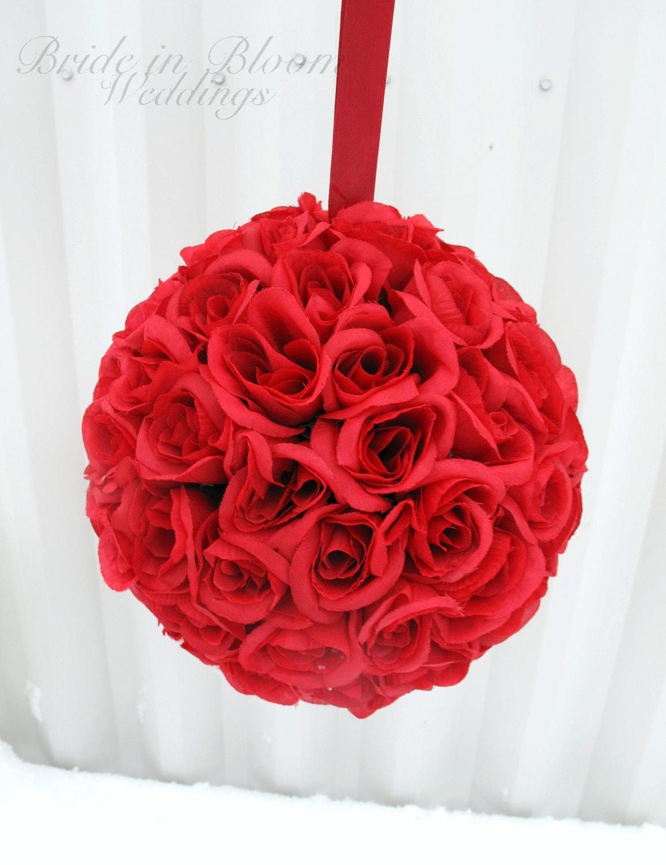 Red rose wedding pomander kissing ball bridesmaid bouquet