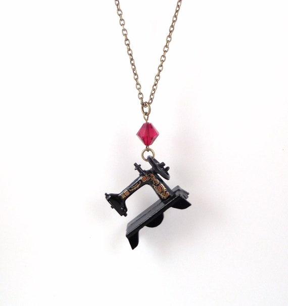 Sewing Machine Necklace (Red)