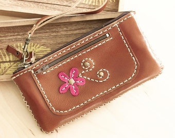 SALE, Handmade Leather Zipper Pouch in Brown with Hand Sewn Flower