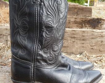 Vintage Dan Post black leather cowboy boots/8