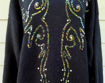 Vintage black sequins oversized pullover sweater