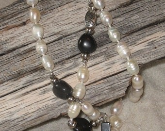 SALE!!!  Freshwater Pearl and Blackstone Rosary