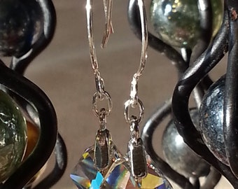 Freeform Swarovski Crystal  and Sterling Silver Earrings
