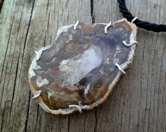 Petrified Wood Necklace. Fossil. Pendant. Petrified Wood And Silver Necklace. Petrified Wood Pendant. Fossil Necklace. Wooden Jewelry.
