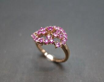 Pink Sapphire Wedding Ring in 14K Rose Gold, Pink Sapphire Ring, Pink Sapphire Engagement Ring, Rose Gold Ring, Pink Sapphire Wedding Band