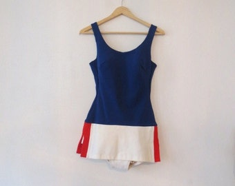 Vintage '60s Super Mod Sears Sea Stars Red, White & Blue One Piece Swimsuit, Playsuit, Small
