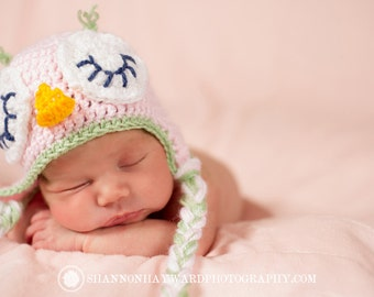 Sleeping owl hat newborn photography prop