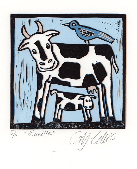 Familia, a linocut art print by Mariann Johansen-Ellis