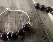 Garnet Hoop Earrings - Silver Hoop Earrings - Bali Beads - Sterling Silver Beads - Hoop Earrings - January Birthstone - Boho Jewelry