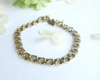 Boho chunky bracelet vintage golf filled metal