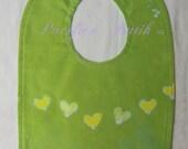 batik hearts bib- green
