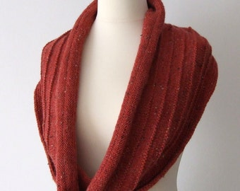 red cowl, knit loop scarf, warm neckwarmer, gift for her