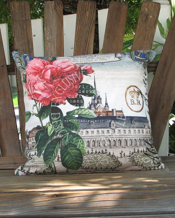 Historical French Architecture Pillow - Abbey and Rose Pillow Cover