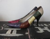 Vintage 1950s 60s Multicolor Leather Stiletto Heel Shoes Size UK 5 1/2