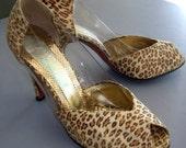Vintage 60s High Heels Leopard & Clear See Thru Sexy - Antonio NY- 8 1/2