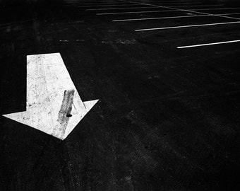 Parking Lot Pavement Direction Arrow in Ludington Michigan in 1973 No.812 A Black and White Fine Art Abstract Landscape Photograph