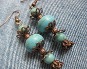 Turquoise and Copper Earrings - Vintage Style