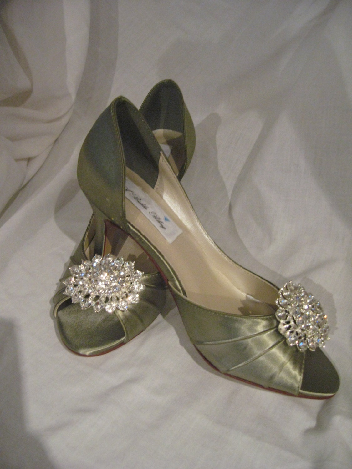 wedding shoes sage green bridal shoes crystal bling brooch