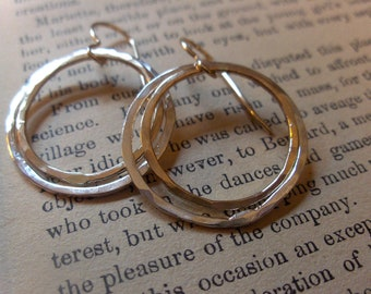 Mixed metal dangle hoop earrings, sterling silver and gold fill