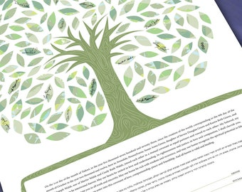 Ketubah Tree of life in greens - Guest Signing