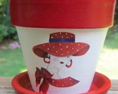 RED  HAT LADY Flower Pot, Red Hatters