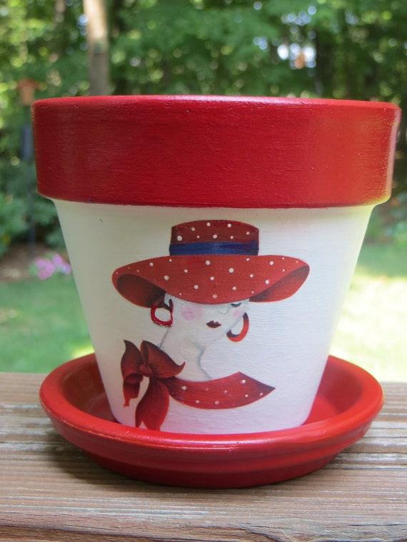 Reserved for Karen: RED  HAT LADY Flower Pot, Red Hatters
