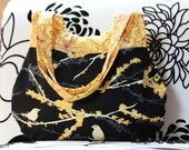 Handbag - handmade nature bird black yellow purse bag gift