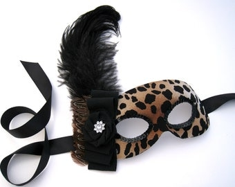 Leopard Print Mask- feather and sequin masquerade mask