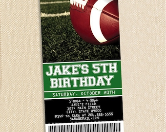 Football ticket Birthday invitations - set of 15