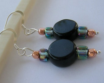Earrings-Iridescent Blue Green and Jet Black Glass with Copper and Sterling Silver- Dangle earrings