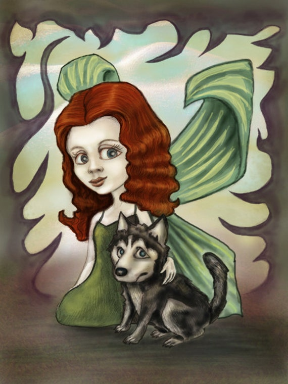 Fairy Redhead Girl and Husky Puppy--FANTASY ART PRINT