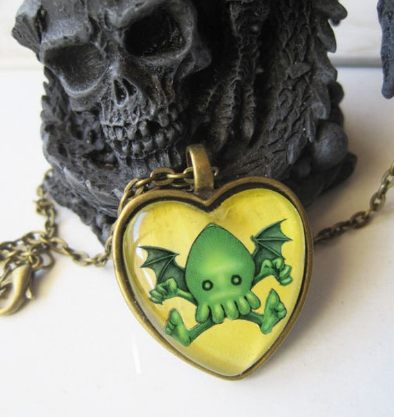 Cute Cthulhu Necklace, Heart Shaped Bronze,  Antique Glass Pendant