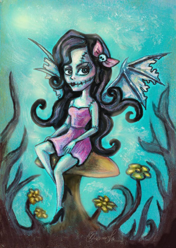 Franken Fairy with Bat Wings, Gothic Fantasy Art Print