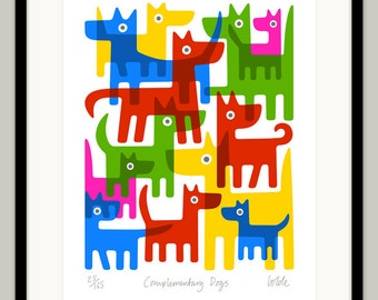 Complementary Dogs by Lo Cole - Limited Edition Archival Pigment Ink Print