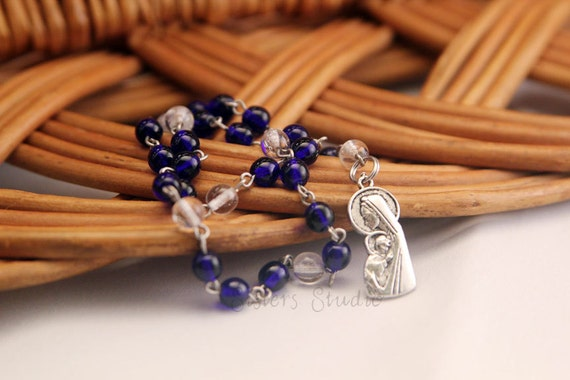 Sanctity of Life Chaplet with special prayers, Cobalt and Antique Silver