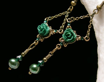 Forest Green Pearl Victorian Earrings, Rose Dangle Drops, Antique Bronze Filigree Titanic Temptations Vintage Edwardian Bridal Style 12005