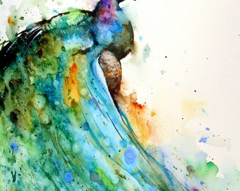 PEACOCK Extra Large Watercolor Print By Dean Crouser