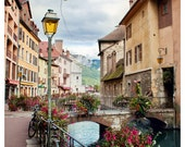 Annecy, France - canal bridge with bicycles, old town, the Alps - 8.5x11 Original Fine Art Photograph