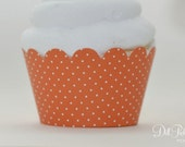 Orange & White Polka Dot Cupcake Wraps - Standard or Mini Size - Set of 25
