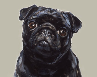 Black Pug Art  print - signed  Ltd. Ed Collectable