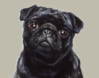 Black Pug Art  print - signed  Ltd. Ed art print - Pug gift, pug lover