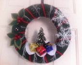 Handmade Holidays Yarn Wreath with Christmas Tree-Wall/door Decoration-12 in Wreath- Ready to Ship