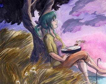 Fan art of Alpha from Yokohama kaidashi kikou YKK - Anime Painting Letter-size Print