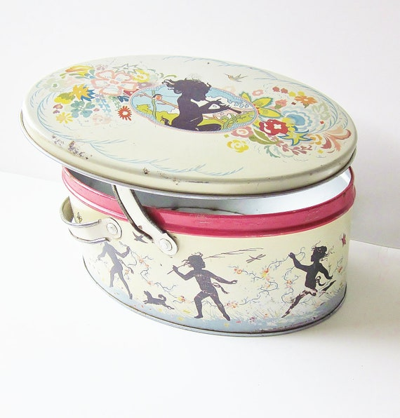 Metal Container Tin Sewing Box Art Nouveau Deco Edwardian Era Nymph Mid Summer Nights Dream Silhouette Spooky Halloween Decor