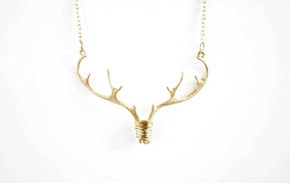 gold antler necklace deer necklace stag pendant country